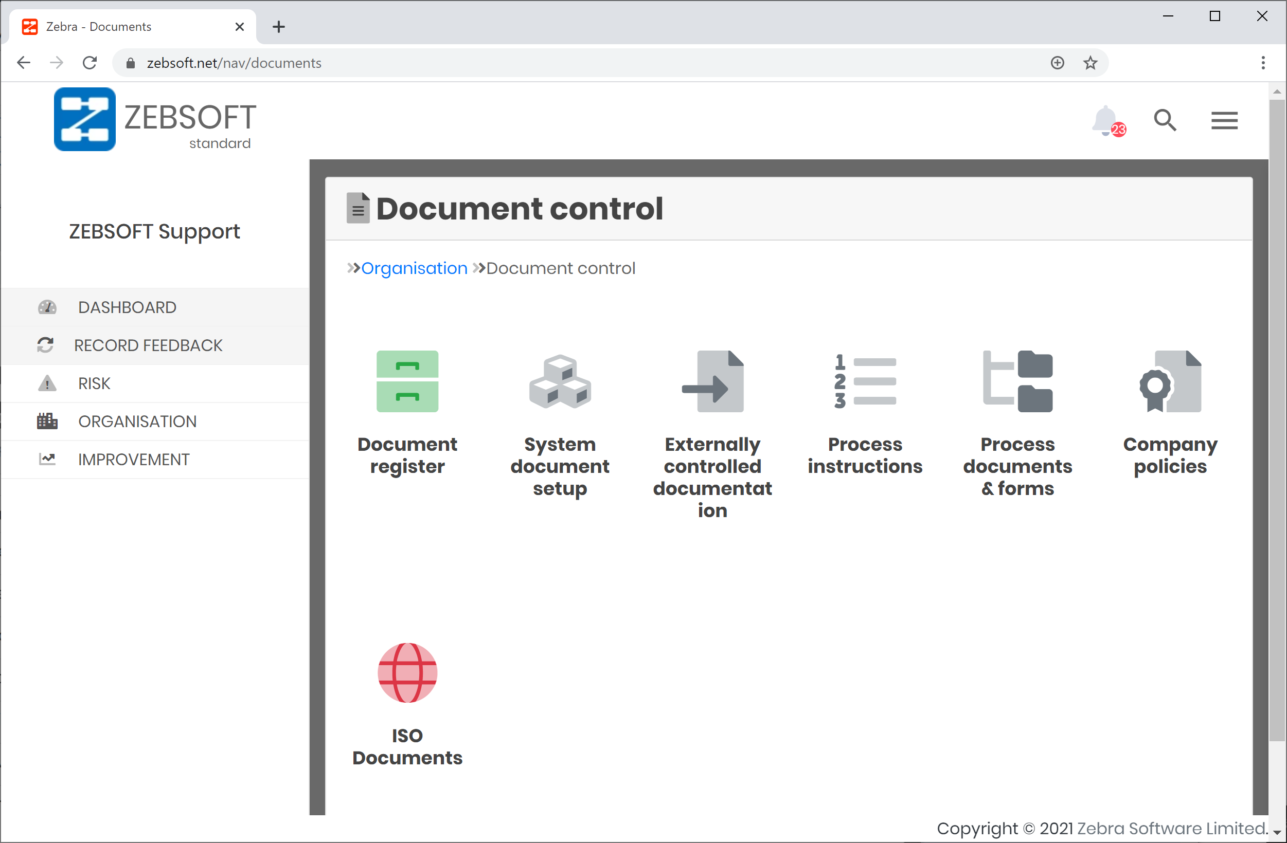 Control of documented information is easy with ZEBSOFT