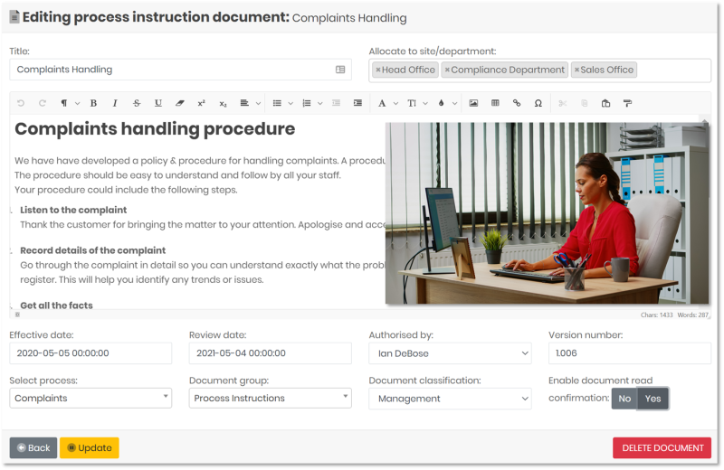 Document Control and Document Management system software, editing a document using the editor